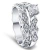 1 1/10ct Sculptural Diamond Engagement Ring Set 14K White Gold (G/H, I1-I2)