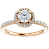 1ct Diamond Halo Vintage Solitaire Round Brilliant Cut Band 14k Rose Gold (H/I, I1-I2)