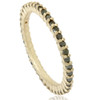 1/2ct Raw Black Diamond Prong Set Eternity Ring 14K Yellow Gold