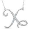 "1/4ct Diamond ""X"" Initial Pendant 18"" Necklace 14K White Gold (G/H, I2)"
