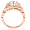 1 1/2ct Vintage Diamond Halo Engagement Ring 14k Rose Gold Art Deco Design (H/I, I1-I2)