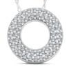 1/4ct Circle Of Life Puff Diamond Eternity Pave Pendant 14k White Gold (H/I, I1-I2)