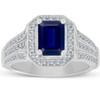 Vintage White Gold 2 ct Blue Sapphire & Diamond Halo Engagement Ring (H/I, I1-I2)