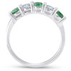 3/4ct Emerald & Diamond 5-Stone Wedding Ring 14K White Gold (G/H, I1-I2)