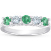 3/4ct Emerald & Diamond 5-Stone Wedding Ring 14K White Gold (G/H, I1-I2)