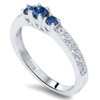 1/2ct Blue Diamond 3-Stone Ring 14K White Gold (G/H, I1)