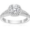 3/4ct Cushion Halo Diamond Engagement Ring Split Shank 14k White Gold (G/H, I1)