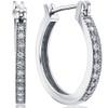 1/4ct Diamonds Hoops Milgrained 14K White Gold (H, I2)