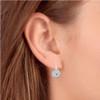 "1/3ct Pave Diamond Blue & White Vintage Halo Earrings 10K White Gold 1/2"" Tall (H/I, I2)"