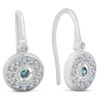 "1/3ct Pave Diamond Blue & White Vintage Halo Earrings 10K White Gold 1/2"" Tall (H/I, I2)"