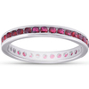 1 1/10ct Ruby Channel Set Eternity Wedding Ring 14K White Gold