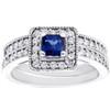 1ct Blue Sapphire Princess Cut Halo Diamond Ring Set 14K White Gold (G/H, I1)