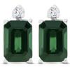1 1/3ct Green Tourmaline Diamond Studs 14K White Gold (G, I2)