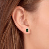 1 1/3ct Green Tourmaline Diamond Studs 14K White Gold (G, I2)