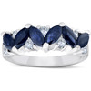 1 5/8ct Blue Sapphire Marquise & Diamond Ring 14K White Gold (G/H, I1-I2)