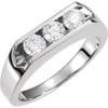 1 1/2ct Diamond Three Stone Mens Wedding Ring in 14k White or Yellow Gold (H, I1)