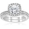 1 1/5ct Diamond Cushion Halo Engagement Ring Wedding Band Set 14k White Gold (I, I1-I2)