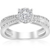 1/2ct Diamond Halo Split Shank Round Cut Engagement Ring 14k White Gold (H/I, I1-I2)