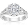 1 ct Diamond Halo Engagement Ring 10k White Gold Round Brilliant Cut Pave (H/I, I1-I2)