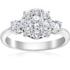 1 1/4ct Diamond Three Stone Pave Halo Engagement Ring 14k White Gold (H/I, I1-I2)