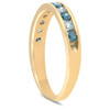 1/2ct Blue & White Diamond Channel Set Ring 14K Yellow Gold (H/I, I1)