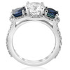 3 1/2 ct Sapphire & Diamond Halo 3-Stone Engagement Ring 14k White Gold ((H-I), I(1))