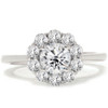 1 1/5ct Halo FIRE Diamond Engagement Ring 14K White Gold (G/H, I1)