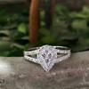 1/2ct Pear Shape Diamond Halo Cluster Engagement Ring 10K White Gold (H/I, I1-I2)