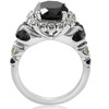 5ct Black & White Diamond Halo Engagement Ring 14k WHite Gold (I/J, I1-I2)