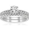 1 ct Diamond Engagement Wedding Ring French Pave Set 14k White Gold (H/I, I1-I2)