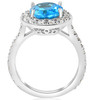 4 cttw Blue Topaz Diamond Halo Vintage Ring Engagement 14k White Gold (H/I, I1-I2)