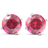 2ct Ruby Studs 14K White Gold Womens Earrings