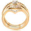 1/2ct 4-Ring Stackable 10k Yellow Gold Diamond Solitaire Wedding Engagement Set (H/I, I1-I2)
