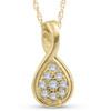 1/10ct Pave Tear Drop Solitaire Diamond Pendant 10K Yellow Gold (G/H, I2)