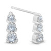 1/2ct 3 Stone Round Graduated Diamond Earrings 14K White Gold (G/H, I2)