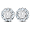 3/8ct Halo Diamond Earring Jackets 14K White Gold Fits 1/4ct Stones (4mm) (H-I, I3)