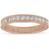 14k Rose Gold 1/3ct Diamond Vintage Wedding Ring Scroll Pattern Stackable Band (F, VS)