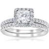 1 5/8ct Certified Princess Cut Diamond Engagement Ring Set 14k White Gold (E-VS) ((E), VS(1)-VS(2))