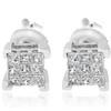 1/3ct Diamond Princess Cut Screw Back Studs Womens Earrings 10k White Gold 5.5mm (I-J, I2-I3)