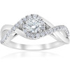 1 cttw Diamond Halo Infinity Engagement Ring 10k White Gold (H/I, SI2-I1)