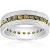 1 1/4ct Raw Rough Diamond Eternity Ring Mens Satin Wedding Band 14k White Gold