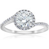 1 1/3ct Diamond Halo Twist Engagement Ring 1ct Center 14k White Gold (H/I, SI2-I1)