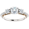 1 1/2ct Three Stone Diamond Engagement Ring Filigree Rose & White Gold 14k (G/H, SI2-I1)