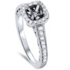 1/3ct Cushion Halo Diamond Vintage Engagement Ring Setting 14K White Gold (G/H, SI2)