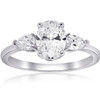 1 3/8CT Oval & Pear Shape Diamond Engagement Ring 14k White Gold ((G-H), SI(1)-SI(2))