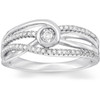 1 Ct Diamond Multi Row Diamond Woven Right Hand Ring 10k White Gold (H/I, I1-I2)