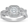 1 Ct Diamond Vintage Cushion Halo Vine Band Engagement Ring 14k White Gold (G/H, I1-I2)