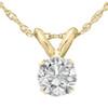 "1/3 Ct Solitaire Round Diamond Pendant Necklace 18"" 14K Yellow Gold (J-K, I2-I3)"