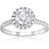 1 ct Round Diamond Halo Engagement Ring 14k White Gold ((G-H), SI(1)-SI(2))