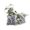 .25Ct Square Princess Cut Natural Diamond Stud Earrings in 14K Gold Basket Setting (G/H, I2-I3)